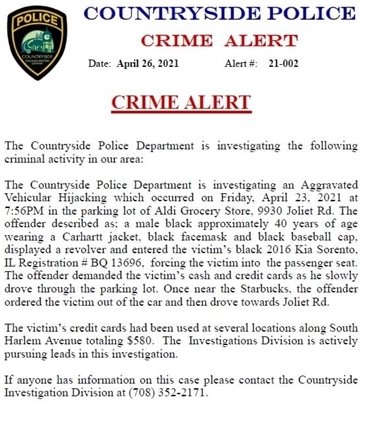 Crime Alert about Aggravated Vehicular Hijacking